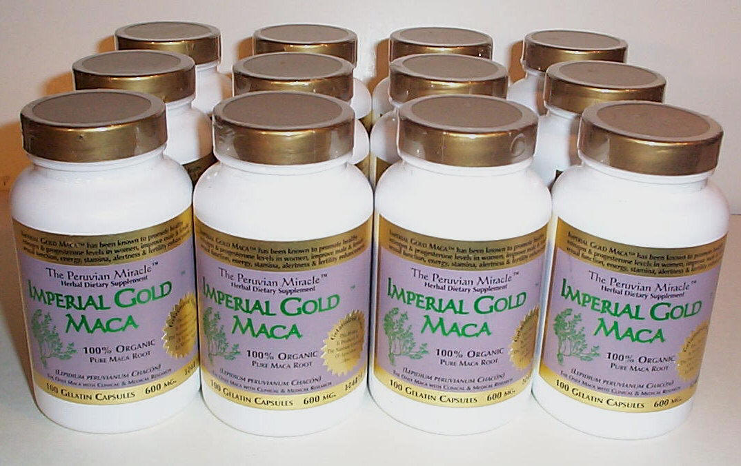 Super Potent Gelatinized (Product of National University La Molina, Peru) Imperial Gold Maca™ 600mg 90 Capsules 12 BOTTLE HOT DEAL